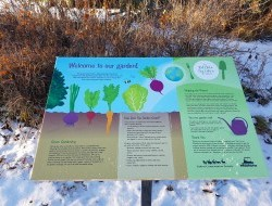 This beautiful panel by Bearbait Designs teaches visitors all about our garden.